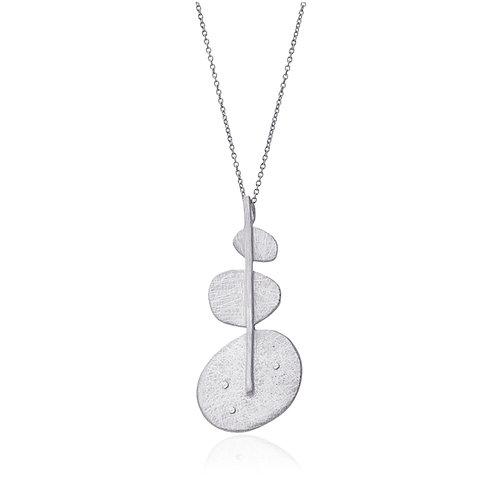 C51 Collar geométrico de acero acabado efecto hielo.