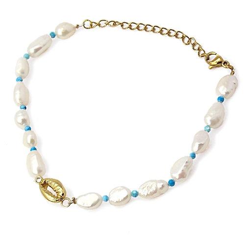 PU6 Pulseras de perlas cultivadas, turquesas y detalle marino.