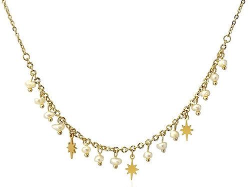 CO91 Collar de acero quirurgico chapado en oro con perlas