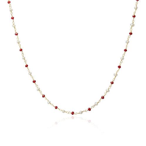 C57 Collar con cristales de colores y perlas.