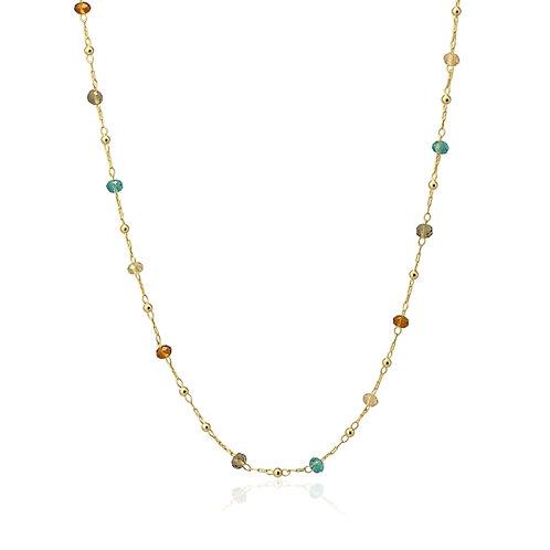 C33 Collar de acero quirúrgico con cristal de colores.