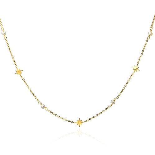 C29 Collar de acero quirúrgico con charms de estrellas y piedras de cristal.