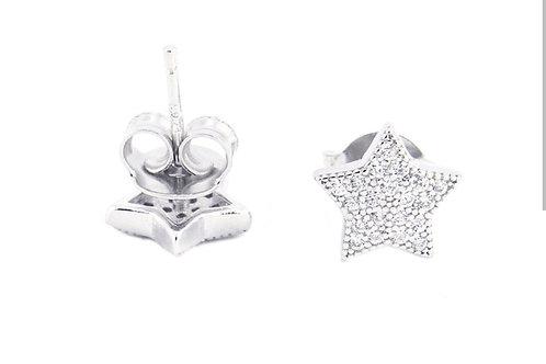 PE27 Pendiente estrella de plata de ley 925 y cristal.