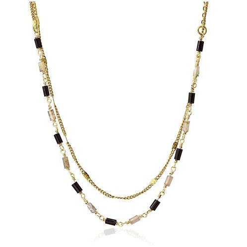 CO92 Collar doble de acero quirurgico chapado en oro