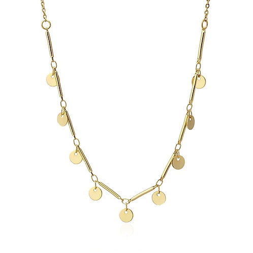 C36 Collar de acero quirúrgico con charms circulares.