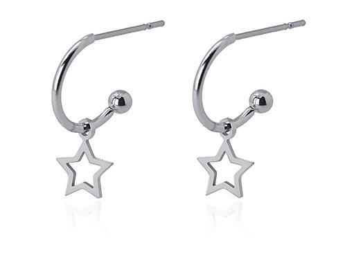 PE50 Aros pequeños con colgante estrella en acero quirúrgico plateado o dorado.