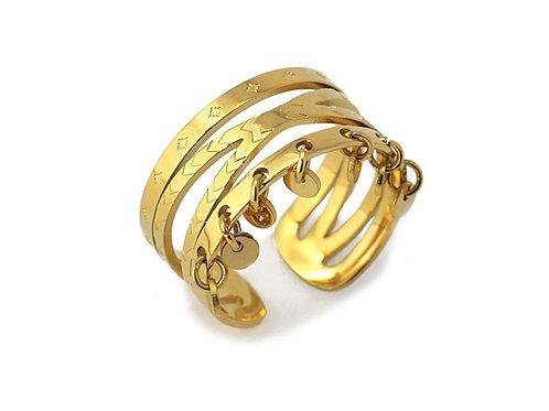 AN36 Anillo de acero quirúrgico bañado en oro