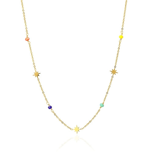 C30 Collar con charms de estrellas y cristales de colores.