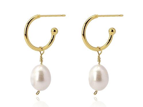 PE15 Pendientes de acero quirúrgico y perlas.