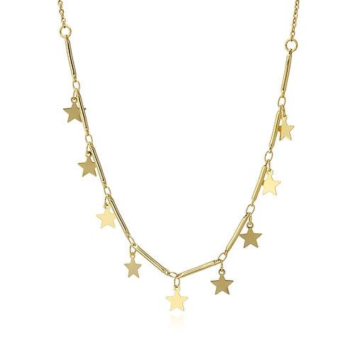 C34 Collar de acero quirúrgico con charms de estrellas.