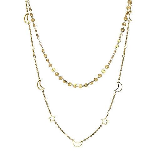 CO90 Collar doble de acero quirúrgico bañado en oro