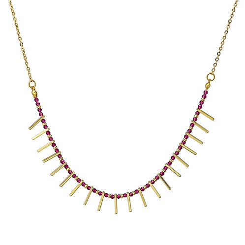 CO87 Collar de acero con baño de oro y piedras de cristal