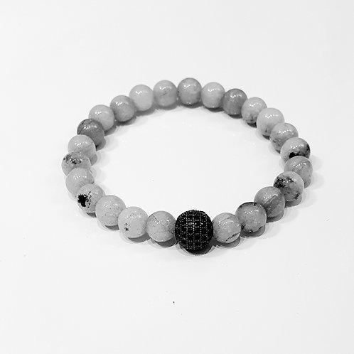 PULSERA INVICTUS #62 Piedra natural con abalorio negro