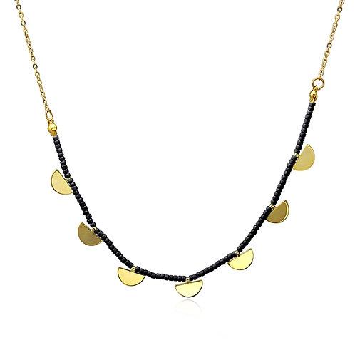 CO86 Collar de acero con baño de oro y piedras de cristal