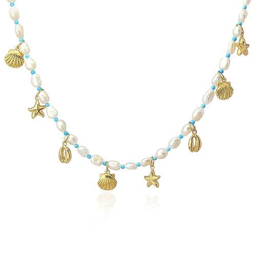 C18 Collar acero quirúrgico con perlas cultivadas y turquesas.