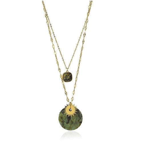 CO101 Collar doble de acero quirúrgico bañado en oro