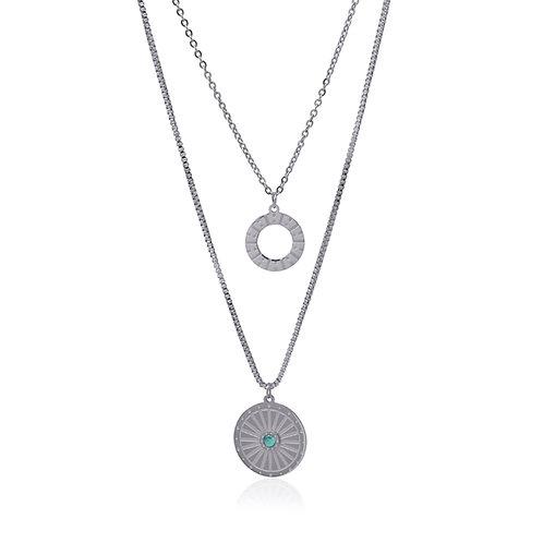 C47 Collar doble de acero quirúrgico con piedra natural.