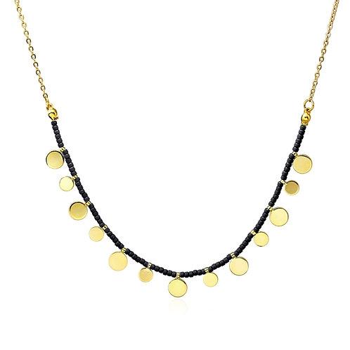 CO84 Collar de acero con baño de oro y piedras de cristal