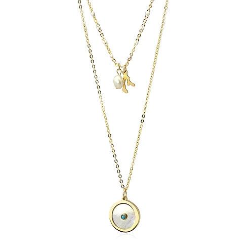 C22 Collar doble de acero quirúrgico con detalle de perla y turquesa.