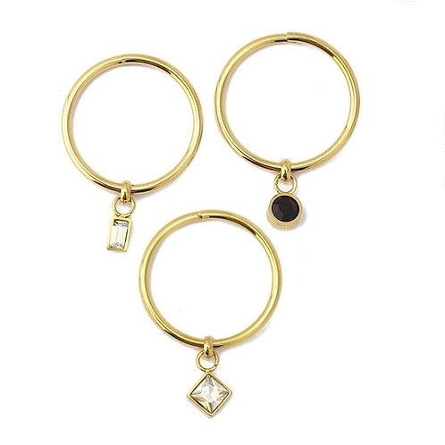 AN32 Set anillos de acero con baño de oro