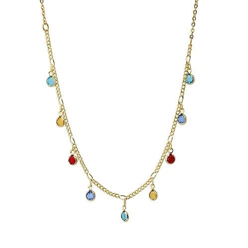 C31 Collar de acero quirúrgico con charms de cristal de colores.