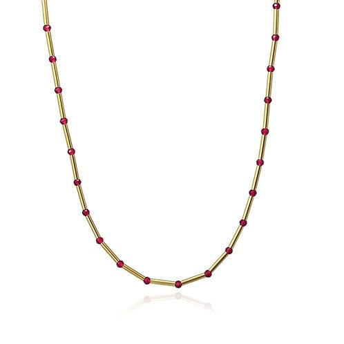 C27 Collar de acero quirúrgico con piedras de cristal.