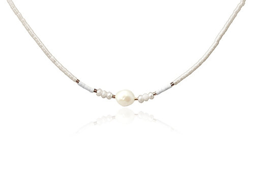 C16 Collar de acero quirúrgico con perlas y piedras de cristal