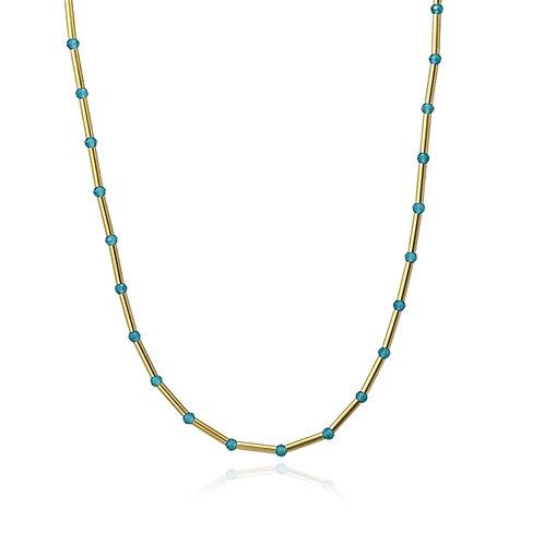 C28 Collar de acero quirúrgico con piedras de cristal.