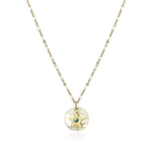 C23 Collar de acero quirúrgico con detalle de estrella y turquesa.