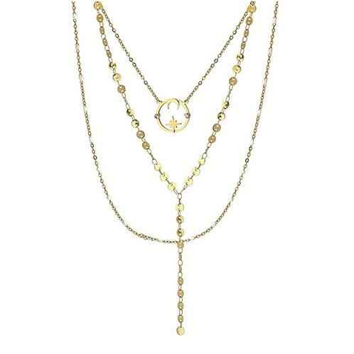 CO104 Triple collar de acero quirurgico bañado en oro