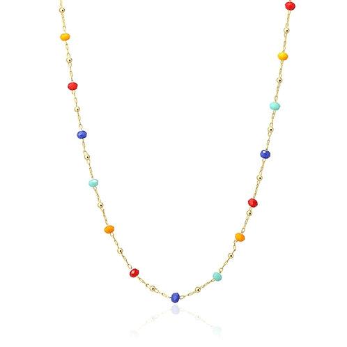 C32 Collar de acero quirúrgico con cristales de colores.