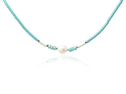 C17 Collar de acero quirúrgico con perlas y piedras de cristal.