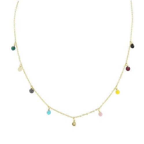 CO76 Collar de acero quirúrgico y piedras de cristal.