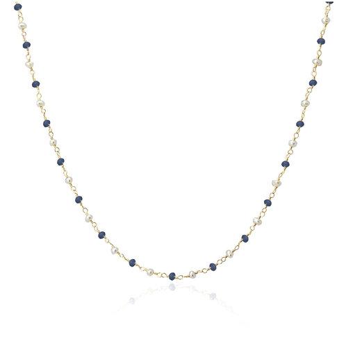 C54 Collar con cristales de colores y perlas.