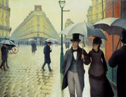 Calle de París, tiempo lluvioso.