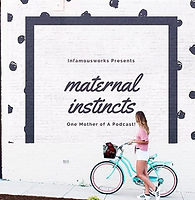Maternal Instincts Podcast logo with young woman on teal bicycle