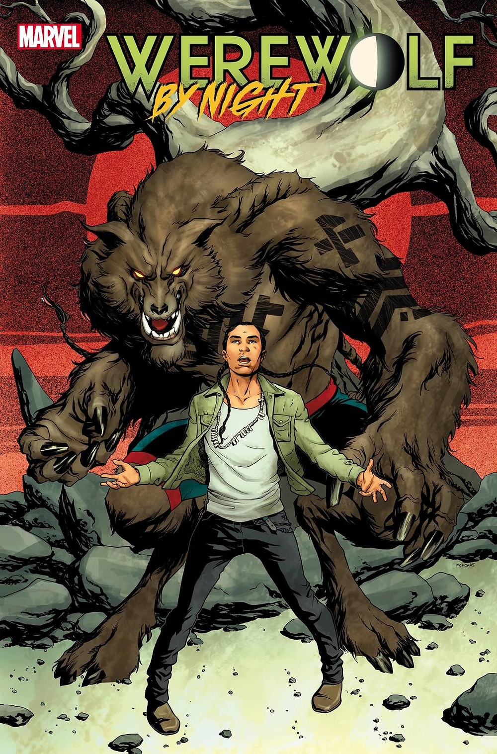 Comic book cover showing young man standing before a large brown werewolf