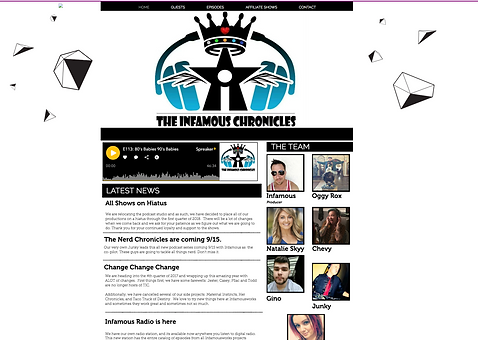 The Infamous Chroncles Podcast Home Page designed by Infamousworks