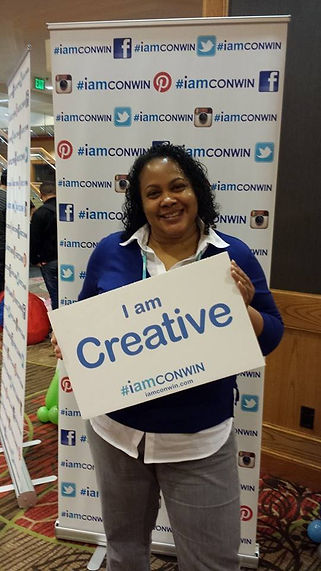 Conwin customer holding up #iamconwin sign