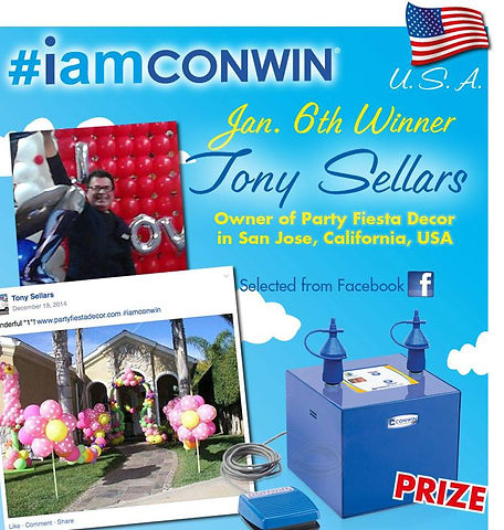 Balloon Artist Tony Sellars winning a Conwin Precision Air in the Infamousworks #IAMCONWIN campaign