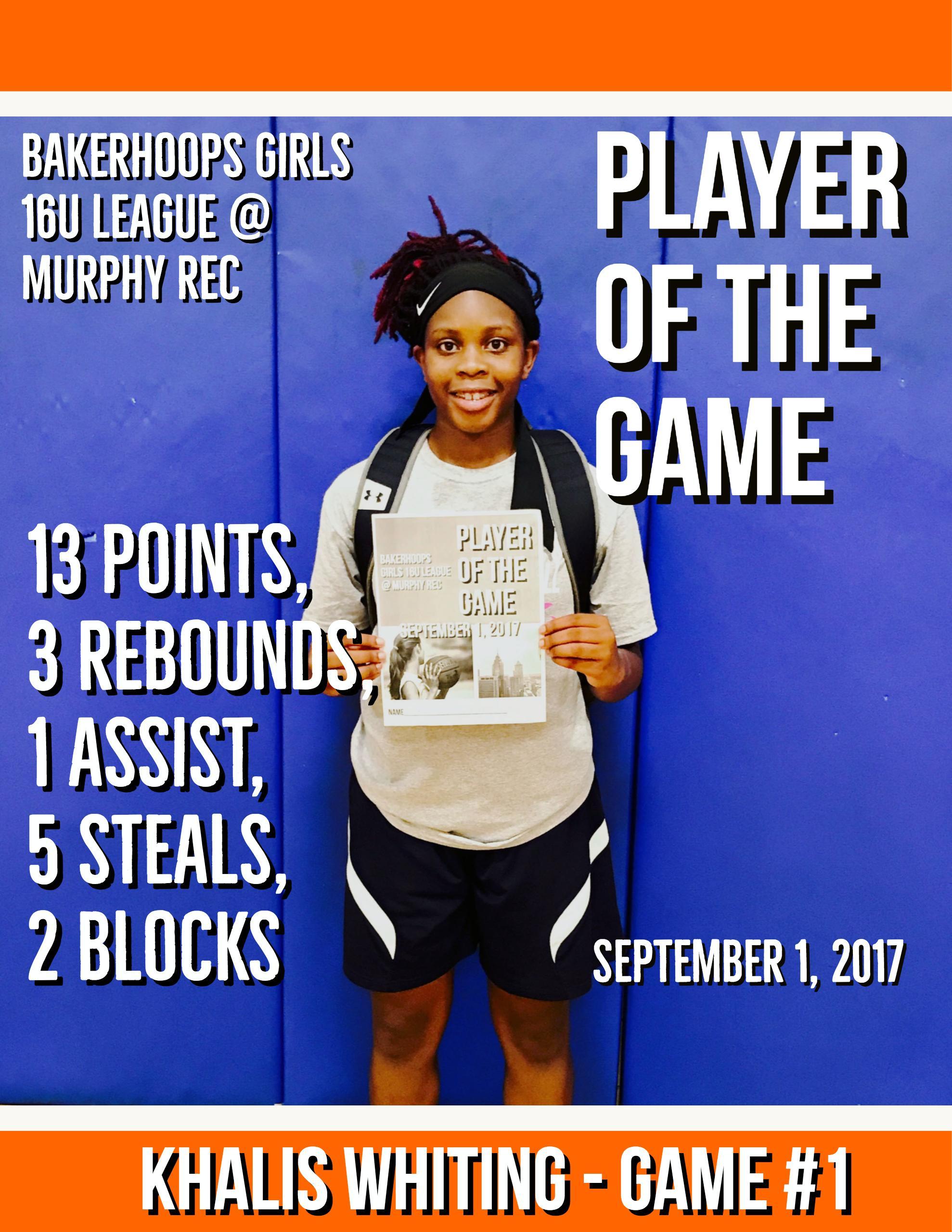 Khalis Whiting - September 1, 2017 Player of the Game - Game #1