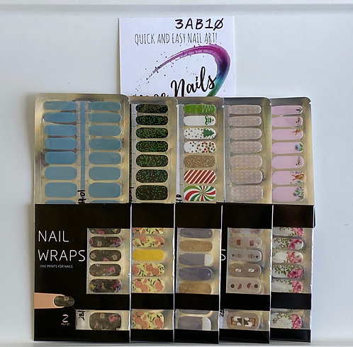 10 Piece Nail Polish strips Sampler - 3AB10