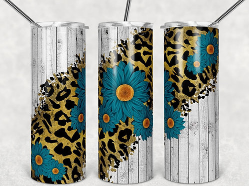 Rustic Sunflower Cheetah Fence -Sublimated Tumbler