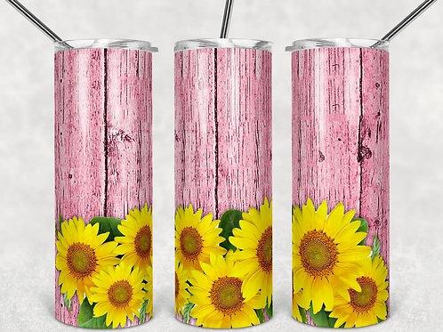 Rustic Sunflower Fence - Sublimated Tumbler