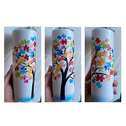 Autism Puzzle Tree Sublimated Drinkware
