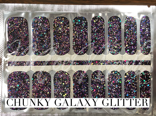 Nail polish strips CHUNKY Galaxy glitter