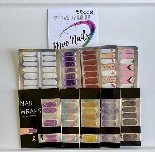10 Piece Nail Polish strips Sampler - 5BC10