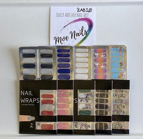 10 Piece Nail Polish strips Sampler - 8AB10