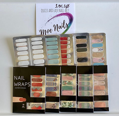 10 Piece Nail Polish strips Sampler - 1BC10