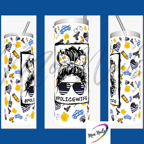 Messy Bun Police Wife - Sublimated Drinkware